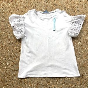 She and Sky Anthropologie  NWT White Ruffled Top